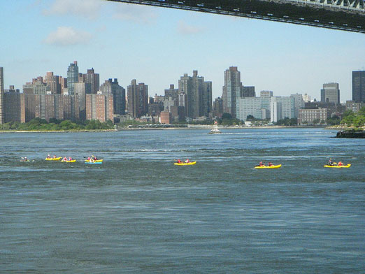 kayakers on the east river