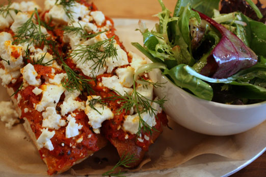 feta with ajvar open faced sandwich at the queens kickshaw