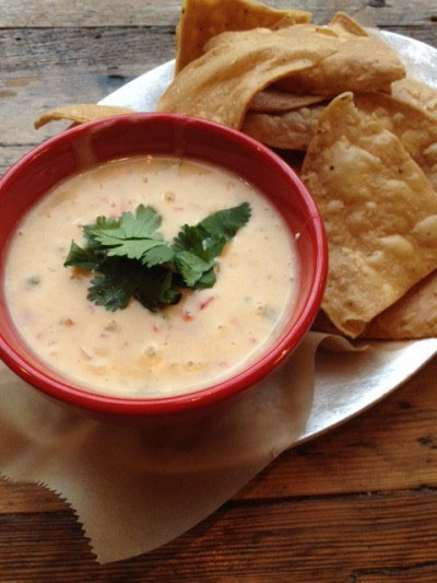 Queso Dip with Nixtamal Chips at The Queens Kickshaw