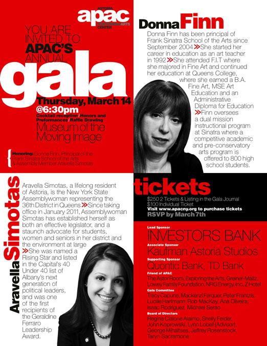 APAC March 14 Gala Honoring Donna Finn and Aravella Simotas