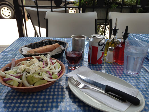 greek-salad-rose-bread-gregorys-26-corner-taverna-astoria-queens