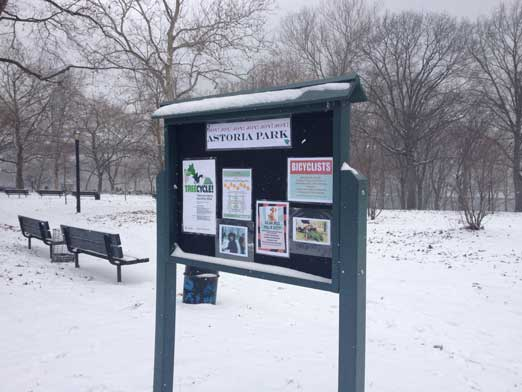 Bulletin board in Astoria Park