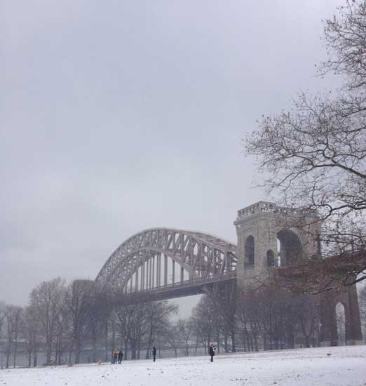 A classic shot of the Hell Gate Bridge.
