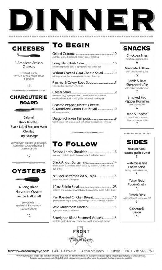 Front Toward Enemy FOOD MENU
