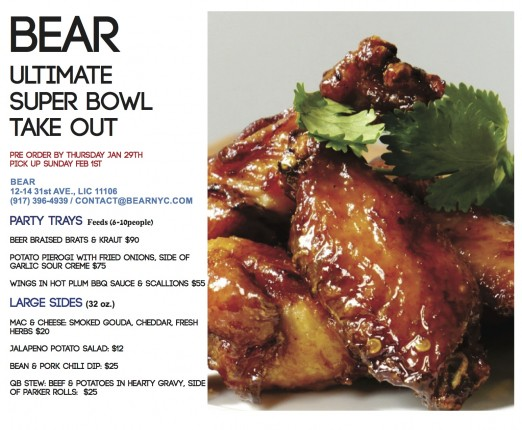 Bear super bowl menu