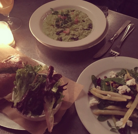 A trio of winning dishes: split pea risotto, manchego grilled cheese, and three bean salad.