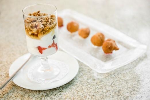 Donut-holes-and granola-yogurt-parfait-The-Astor-Room-Brunch-Tasting-We-Heart-Astoria-Queens
