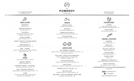 The Pomeroy Menu