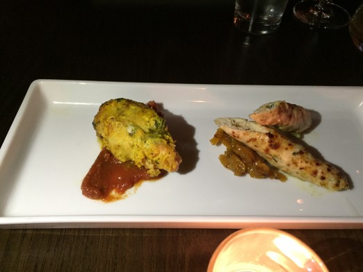 A tasting portion of the popular Lamb Stuffed Tandoori Chicken is on the left!