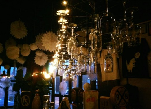 RaR Bar interior_wine glass chandelier