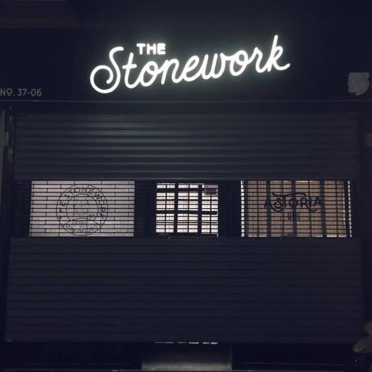 The Stonework at night.
