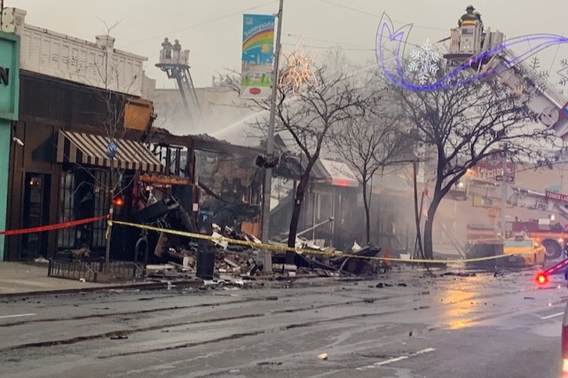Fire destroys six businesses on Queens Boulevard in Sunnyside.